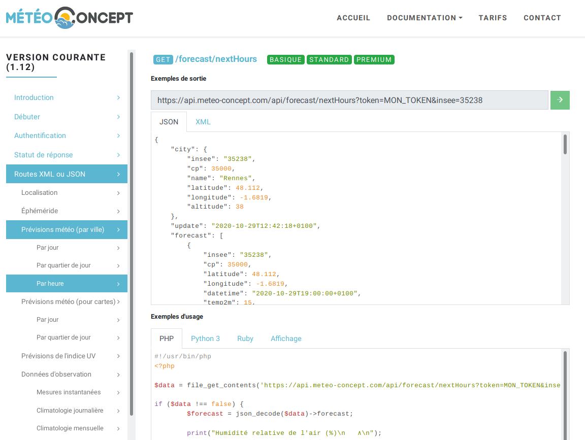 Capture d'écran de la documentation de l'API